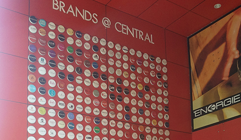 Wall of brands